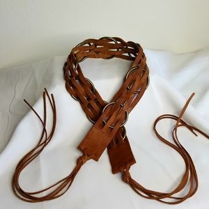 Lucky Brand leather and metal ring tie belt M/L